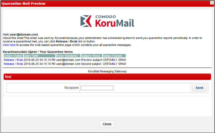 Email Reports Settings, Mail Template, Comodo KoruMail