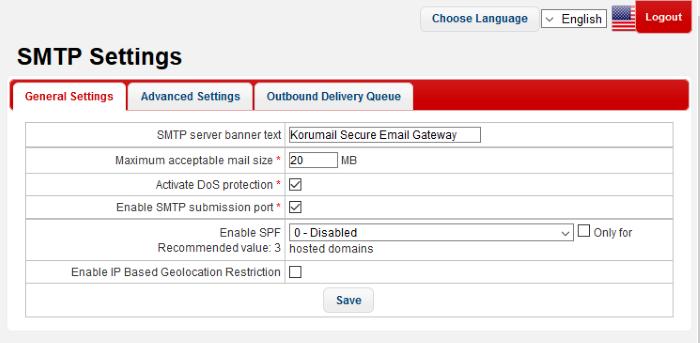 General Settings, SMTP Server Settings, KoruMail Messaging Gateway