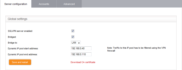 Configure General SSLVPN Server Settings, Network Security, UTM
