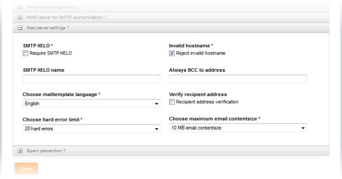Configure Advanced SMTP Proxy Settings, Spam Prevention