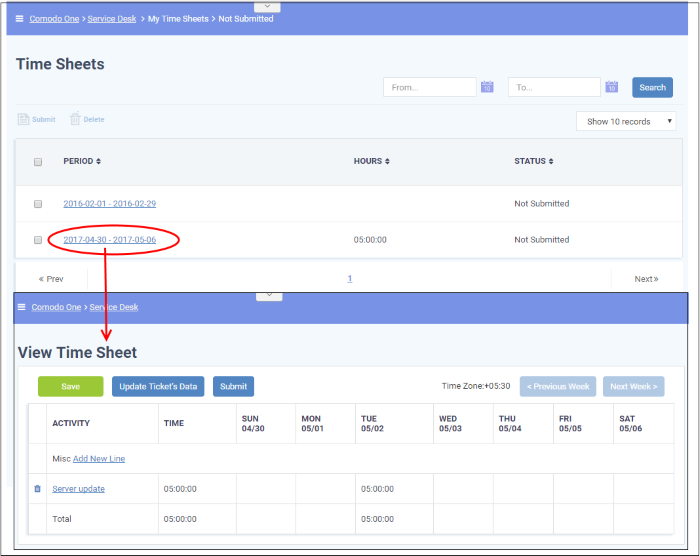 manage staff time sheets help desk support comodo c1 service