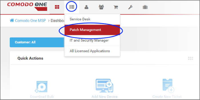 Login To The Patch Management Module, Patch Management