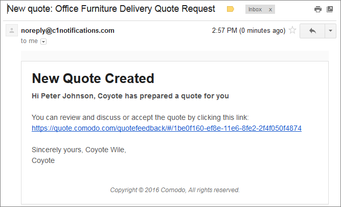 Step Answer Feedback And Finalize A Quote Comodo Quote Manager - How to send quotation email to customer