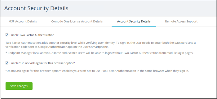 Set up Two-Factor Login Authentication, Comodo Two-Factor