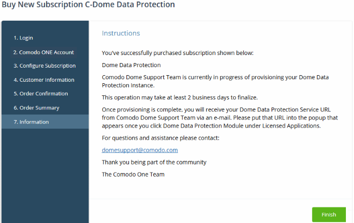 Add Comodo Dome Data Protection, Managed Desktop Services