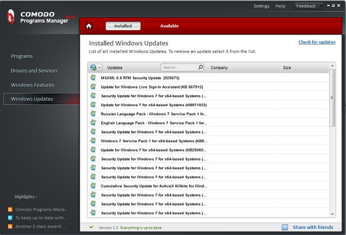 list of windows 7 security updates
