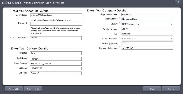 Complete your Order, Comodo SSL Certificate Installer, COMODO