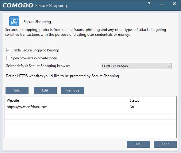 Configure Comodo Secure Shopping