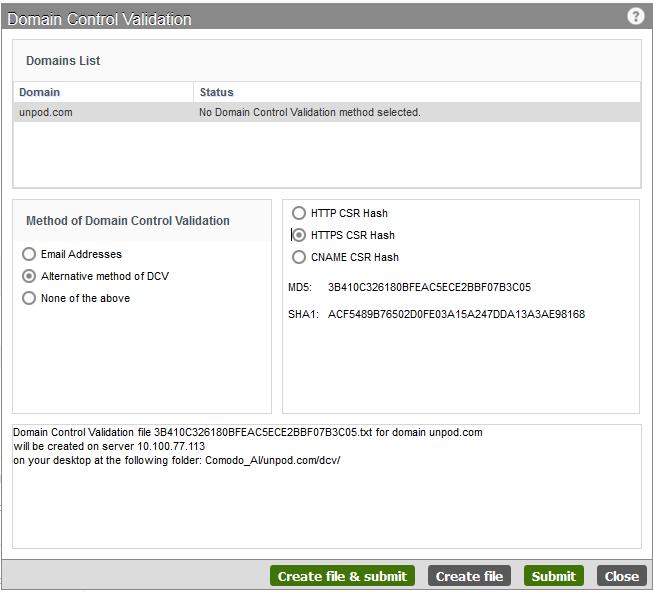Complete Domain Control Validation, DCV With Comodo, Comodo Server