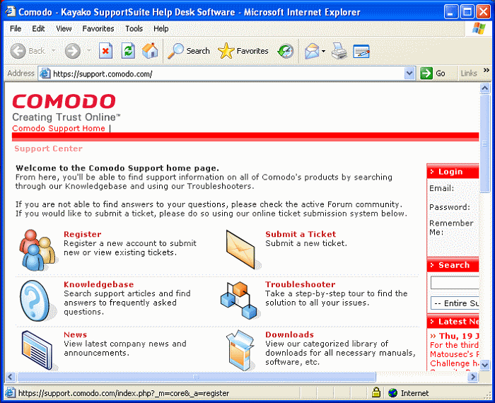Help, Comodo Products Knowledgebase, Software Help Guide