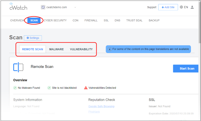 Security Scans, Web Vulnerability Scanner | Comodo cWatch