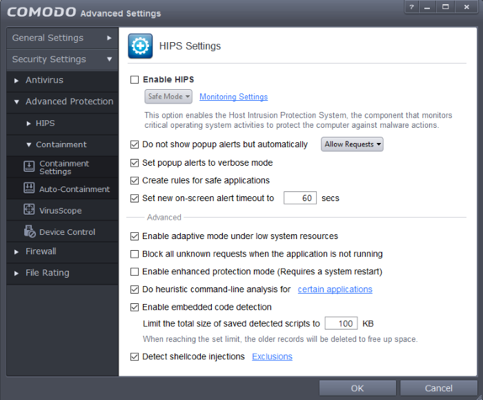 HIPS Behavior Settings, Comodo Client Security | Comodo