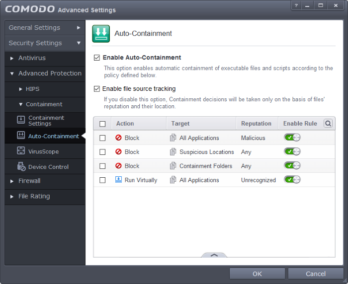 Configuring Rules For Auto-Containment, Sandbox Security