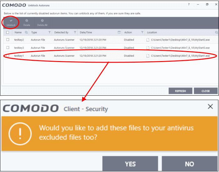Manage Blocked Autoruns, Virus Protection Software | Comodo