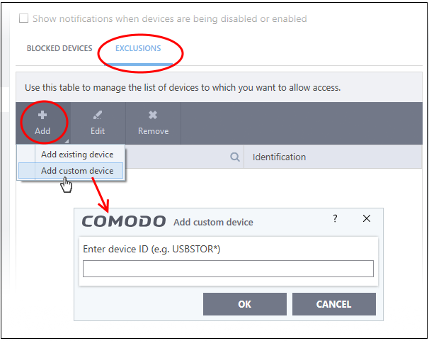 Device Control Settings - Comodo Client Security, Monitor