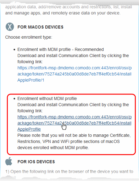 Step 4 - Enroll Users Devices, Endpoint Manager | Comodo