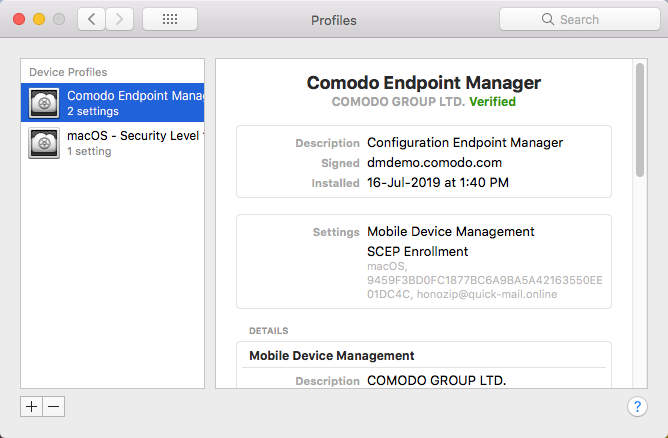Enroll Mac OS Devices, Endpoint Manager | COMODO, ITarian