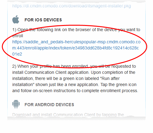 Enroll iOS Devices, Endpoint Manager End User Guide | COMODO