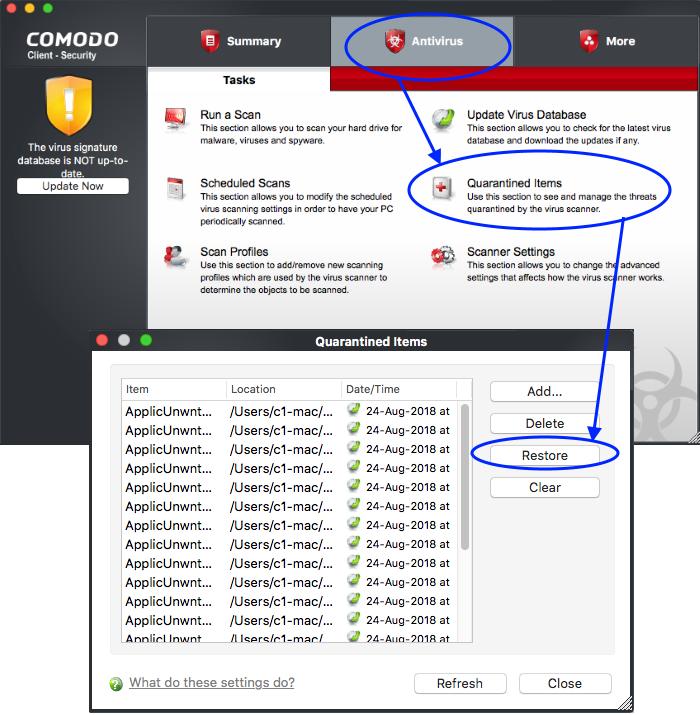 Restore Quarantined Item(s), Quarantined Virus |Comodo