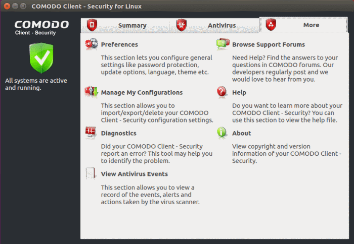 Comodo Client Security More Options - Introduction, Virus