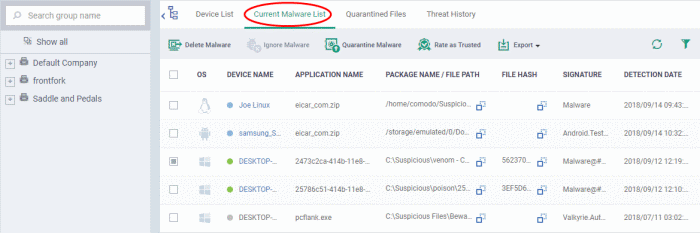 View and Manage Identified Malware, Endpoint Manager