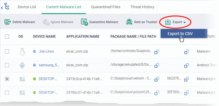 View and Manage Identified Malware, Endpoint Manager, Malware Detection