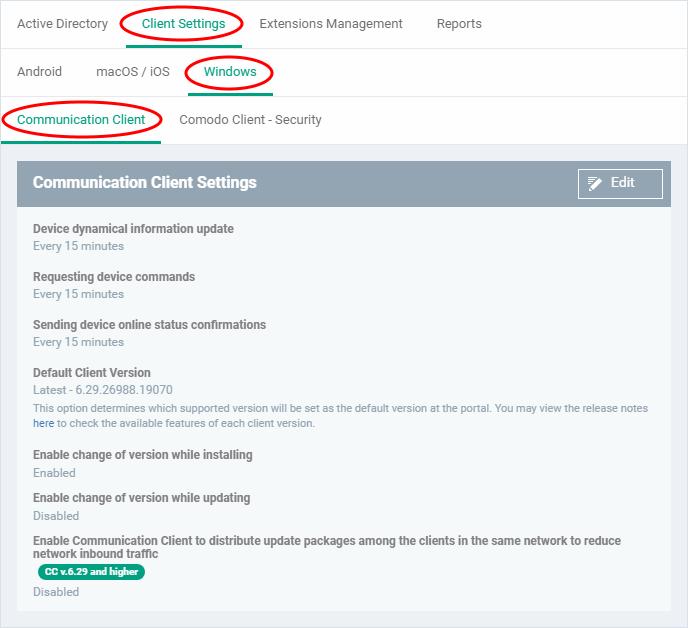 Configure Communication Client Settings, Comodo Endpoint