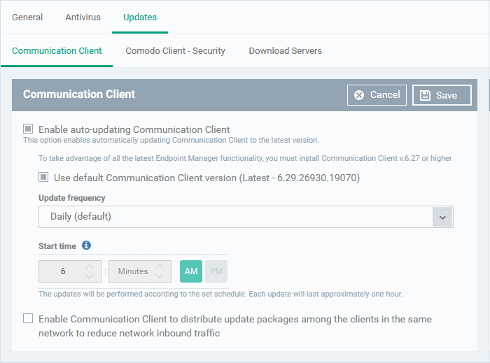 Communication Client and Comodo Client Security Application Update