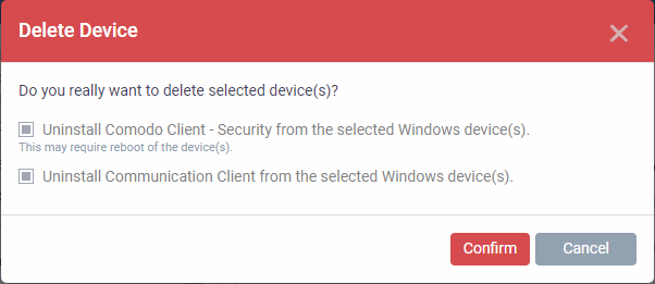 Remove A Device, Endpoint Manager, Security Manager | Comodo