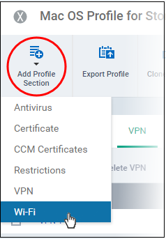 Wi-Fi Settings for Mac OS Profile, Mac OS Endpoints