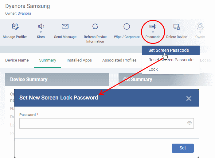 Set Or Reset Screen Lock Password For Selected Devices, Reset