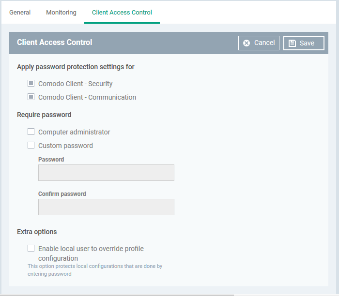 Client Access Control, Manage Device, Comodo Endpoint Manager