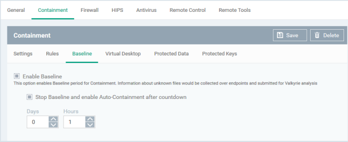 Containment Settings, Containment Computer Security, Desktop