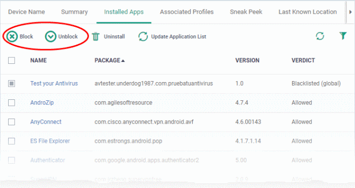 Manage Installed Applications, Endpoint Manager, COMODO