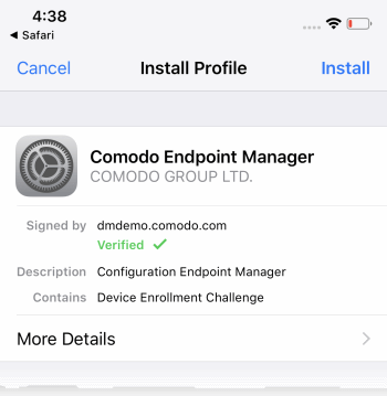 Enroll iOS Device - Endpoint Manager, Server Certificate