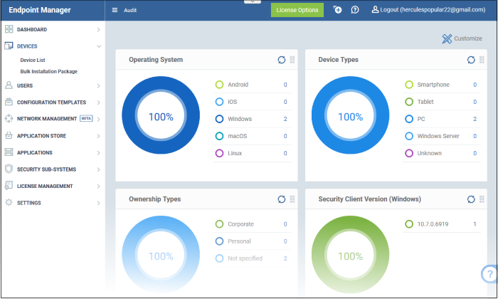 The Administrative Console, Security Manager, Endpoint Manager | COMODO