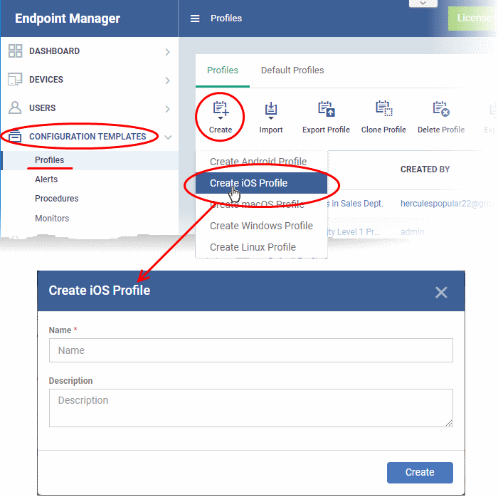 Profiles For iOS Devices, Endpoint Manager | Comodo