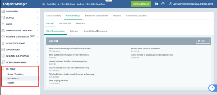 Configure Endpoint Manager, Endpoint Manager   Comodo, ITarian