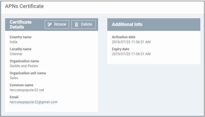 Add Apple Push Notification Certificate, iOS SSL Certificate