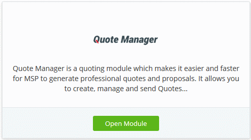 Add Quote Manager, Managed Service Providers | COMODO | ITarian