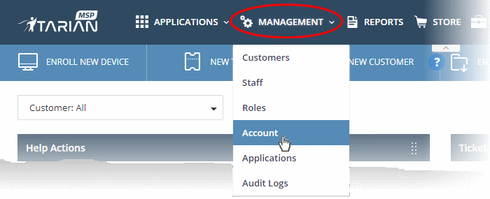 Manage your Account, Managed Support Services, ITarian, COMODO