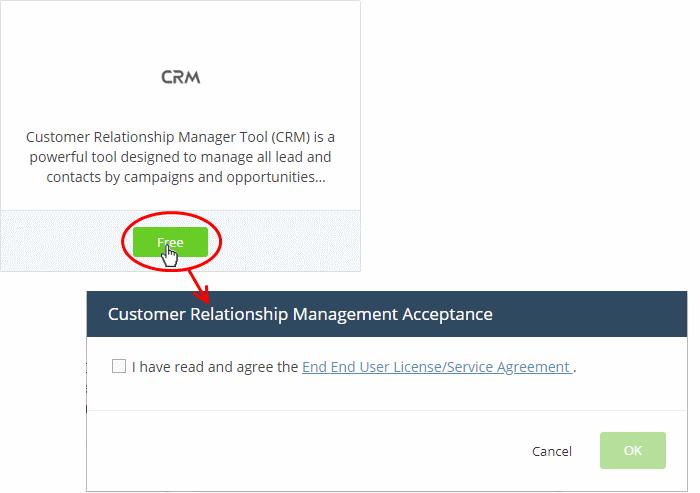 Add Customer Relationship Management, CRM | Comodo | ITarian