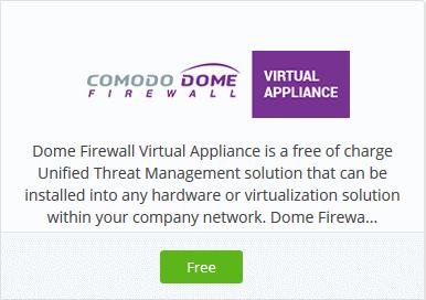 Add Comodo Dome Firewall Virtual Appliance, Virtual Firewall