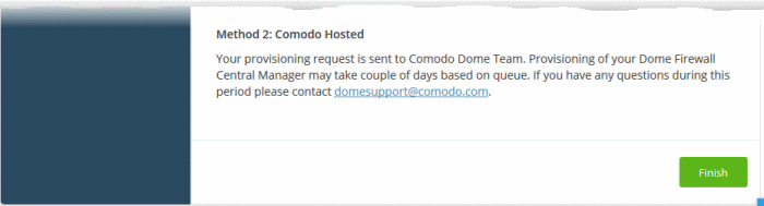 Add Comodo Dome Firewall Central Manager, Managed Service