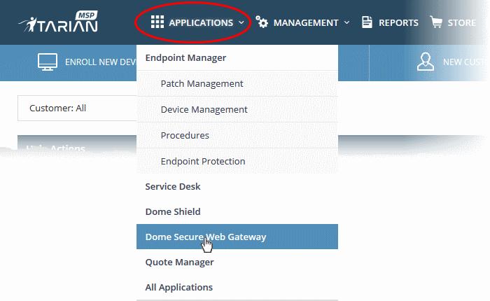 Add Comodo Dome Secure Web Gateway, Managed Service
