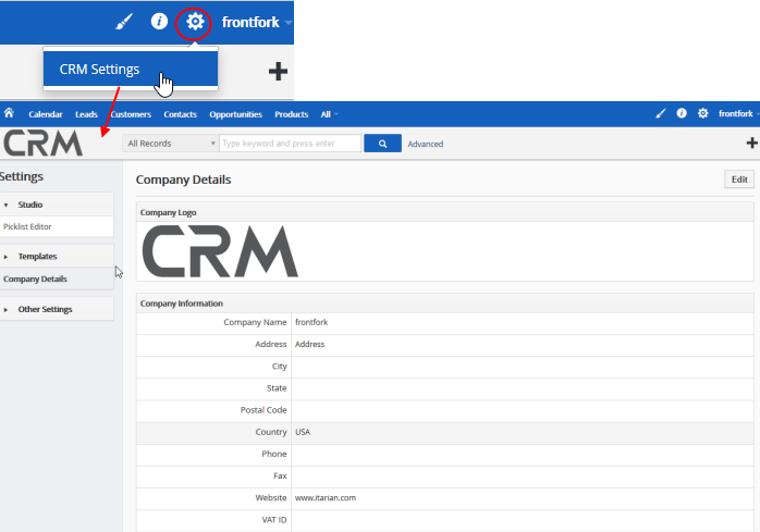 Manage Company Details, ITarian, Customer Relationship