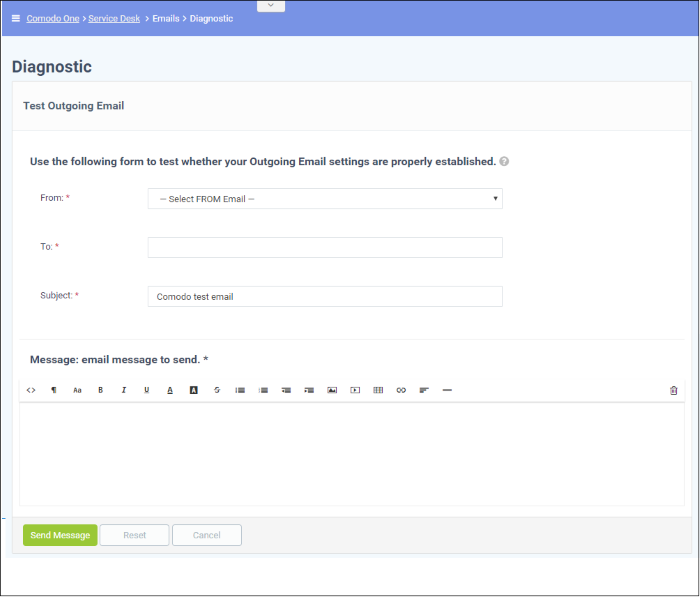 Test Outgoing Email Settings, ITarian- Service Desk