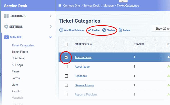 Ticket Categories, Information Technology Helpdesk, ITarian
