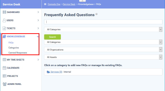 Manage Knowledgebase, Service Desk FAQ, Help Desk Support