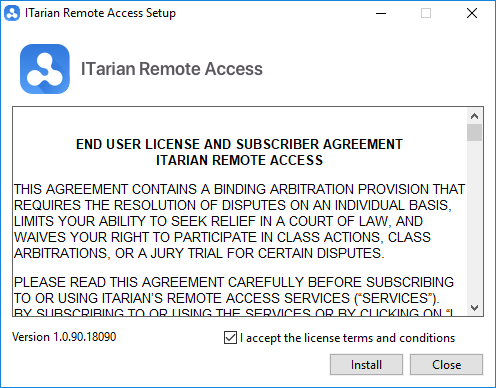 Download and Install ITarian Remote Access Tool, Remote